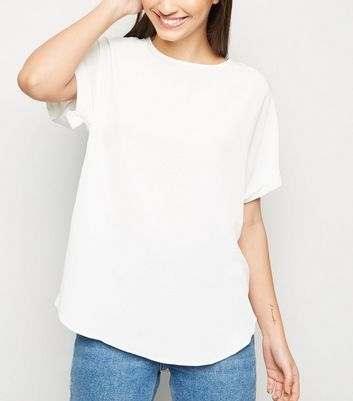 Off White Rolled Sleeve Top