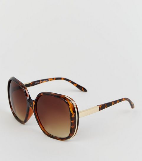 8f690129d5f31 ... Dark Brown Faux Tortoiseshell Rectangular Sunglasses ...