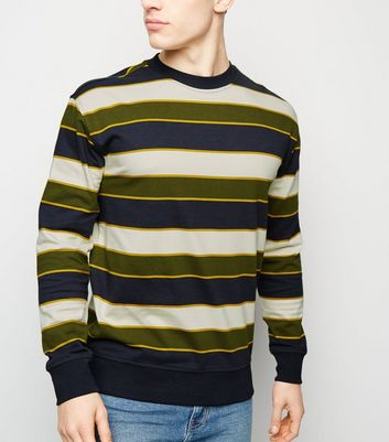 Off White Stripe Crew Neck Sweatshirt