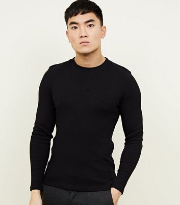 Black Long Sleeve Ribbed Muscle Fit T-Shirt