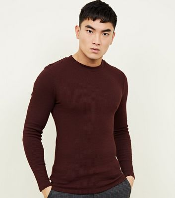 Burgundy Long Sleeve Ribbed Muscle Fit T-Shirt