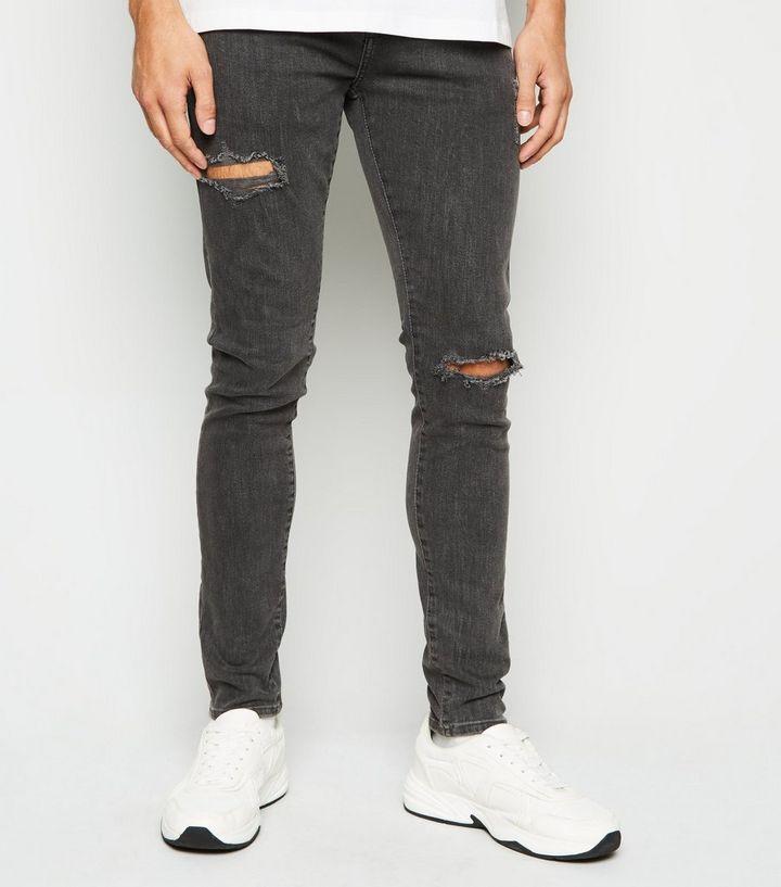 2c473bb2814 Dark Grey Ripped Super Skinny Stretch Jeans | New Look