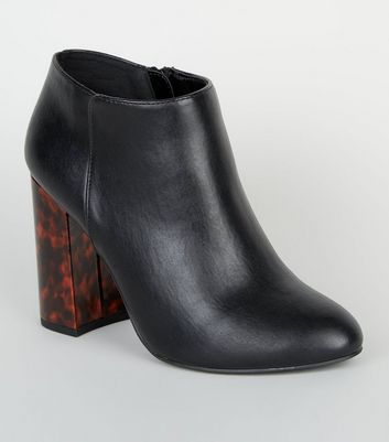 Wide Fit Black Faux Tortoiseshell Flared Heel Boots