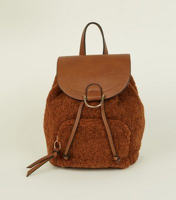 Tan Teddy Borg Pocket Front Backpack