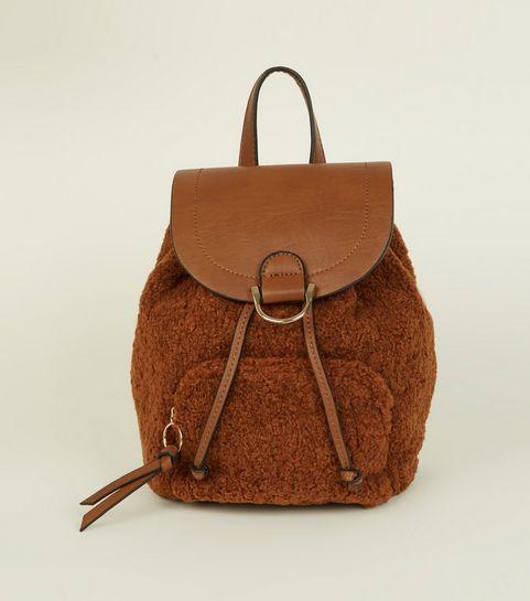 Tan Teddy Borg Pocket Front Backpack
