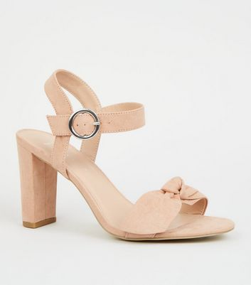 Wide Fit Nude Bow Strap Block Heels by New Look