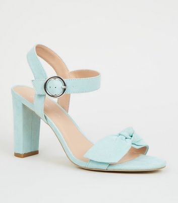 Wide Fit Mint Green Bow Strap Block Heels
