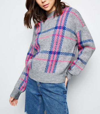 Light Grey Neon Check Jumper