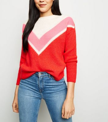 Red Chevron Colour Block Jumper
