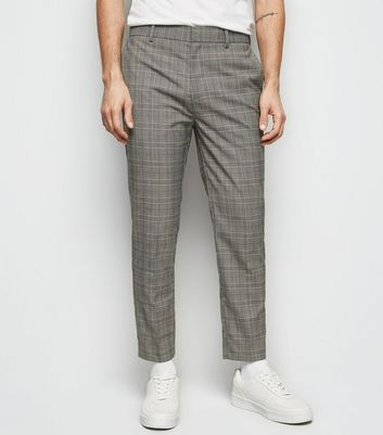 Grey Prince of Wales Check Skinny Crop Trousers