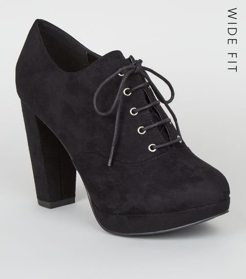 5a034e7eb716 ... Wide Fit Black Suedette Lace Up Shoe Boots ...