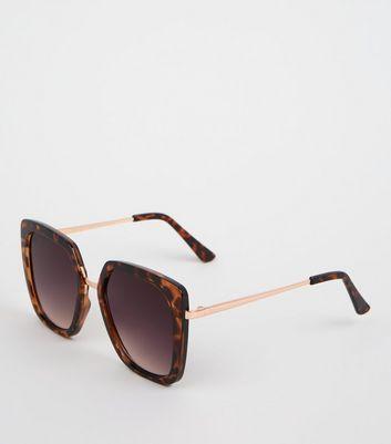 ca3515f09ec dark-brown-square-faux-tortoiseshell-sunglasses by new-look