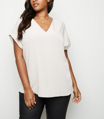 Curves Stone V Neck Crepe Top
