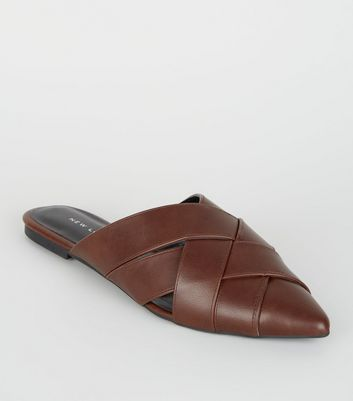 Brown Leather-Look Woven Pointed Mules