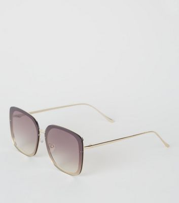 Gold Rimless Rectangle Sunglasses