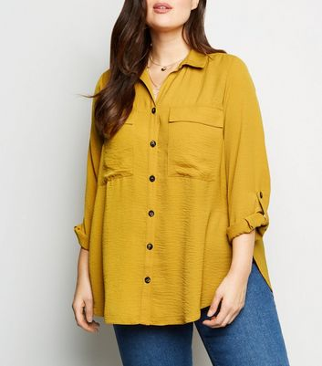 Curves Mustard Pocket Front Utility Shirt