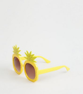 Yellow Novelty Pineapple Sunglasses by New Look