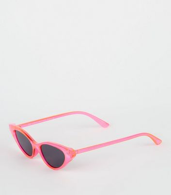 Bright Pink Neon Clear Cat Eye Sunglasses