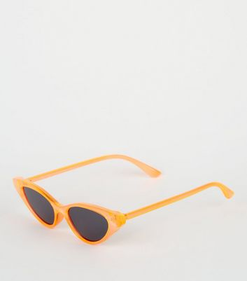 Bright Orange Neon Clear Cat Eye Sunglasses