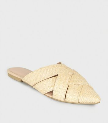 Off White Straw Effect Pointed Mules