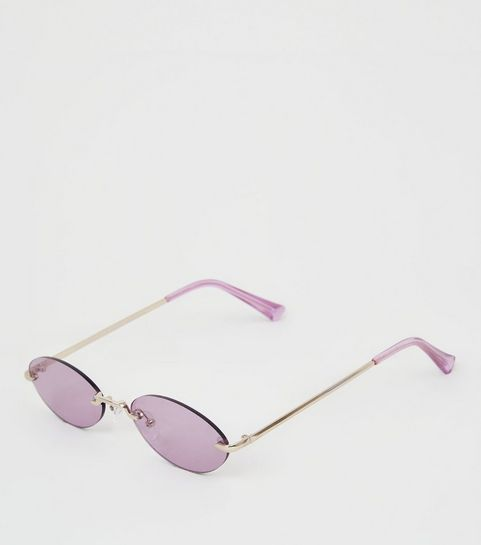 d60a8ffba14 ... Lilac Rimless Mini Oval Sunglasses ...