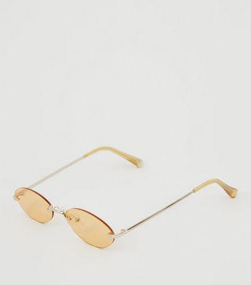 Orange Rimless Mini Oval Sunglasses