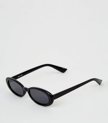 Black Thick Frames Oval Sunglasses