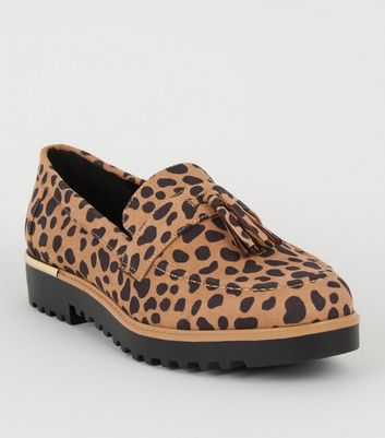 Brown Animal Print Tassel Trim Loafers