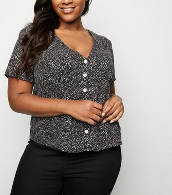 Curves Black Spot Button Up Shirt