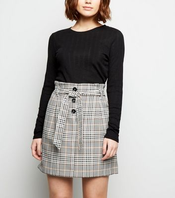 Brown Check Button Tie Waist Mini Skirt