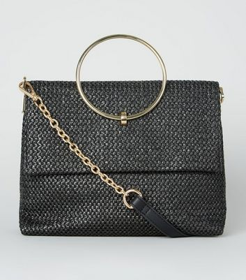 Black Woven Straw Effect Ring Handle Bag