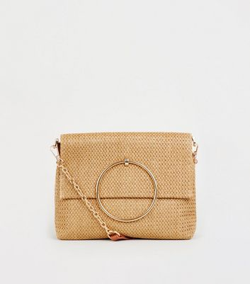 Stone Woven Straw Effect Ring Handle Bag
