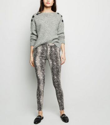 Black Snake Print Stretch Slim Leg Trousers