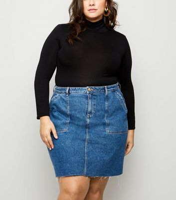 Curves Blue Raw Hem Denim Utility Skirt