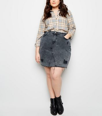 Curves Black Ripped Acid Wash Denim Skirt