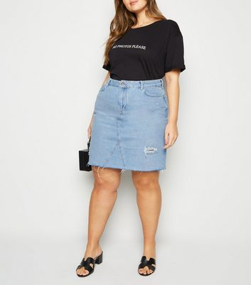Curves Pale Blue Ripped Acid Wash Denim Skirt