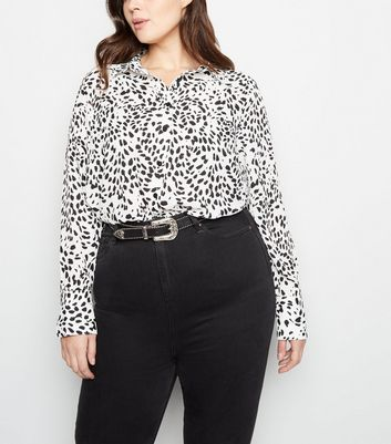 Curves White Leopard Print Long Sleeve Shirt