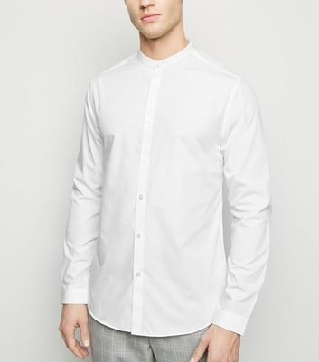 White Long Sleeve Collarless Poplin Shirt