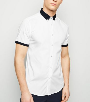 White Tipped Revere Collar Shirt