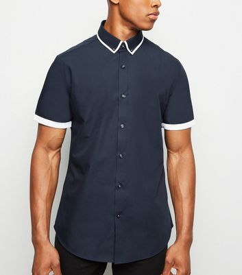 Navy Tipped Short Sleeve Shirt