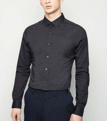 Grey Long Sleeve Muscle Fit Poplin Shirt