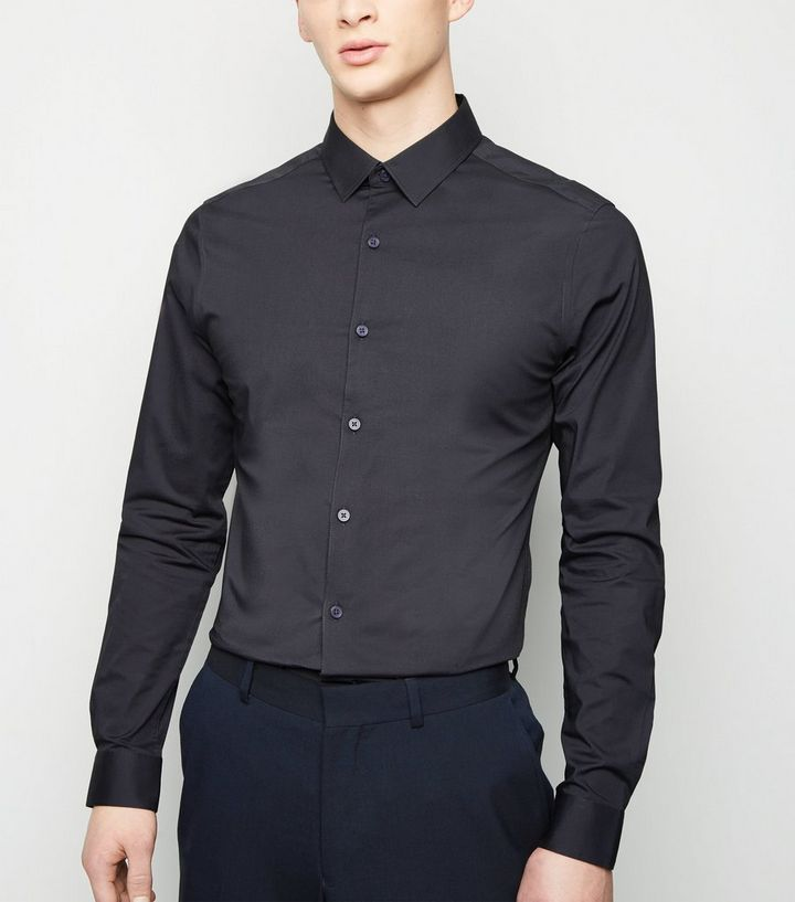 1bb1d97a9 Grey Long Sleeve Muscle Fit Poplin Shirt   New Look