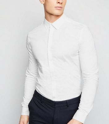 White Long Sleeve Muscle Fit Poplin Shirt