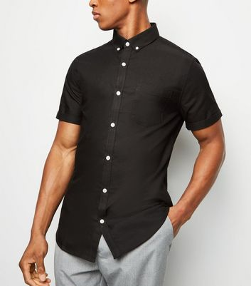 Black Short Sleeve Cotton Oxford Shirt
