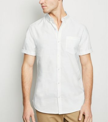 White Short Sleeve Cotton Oxford Shirt
