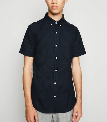 Navy Short Sleeve Cotton Oxford Shirt