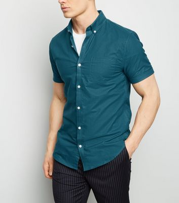 Teal Short Sleeve Cotton Oxford Shirt