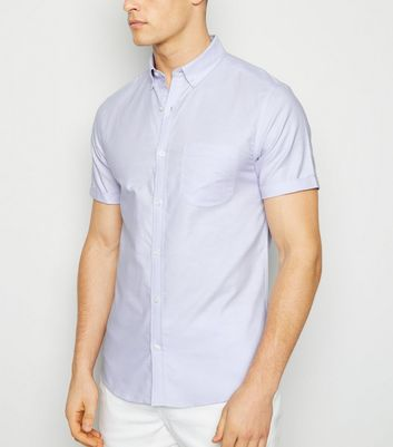 Lilac Short Sleeve Cotton Oxford Shirt
