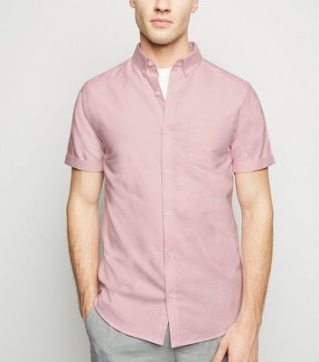 Pink Short Sleeve Cotton Oxford Shirt