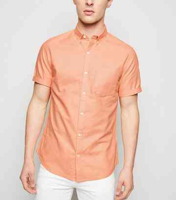 Coral Short Sleeve Cotton Oxford Shirt